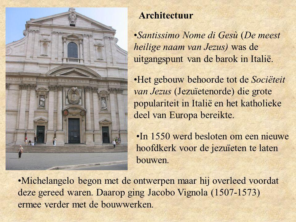 Architectuur Santissimo Nome di Gesù (De meest heilige naam van Jezus) was de uitgangspunt van de barok in Italië. Het gebouw behoorde tot de Sociëtei