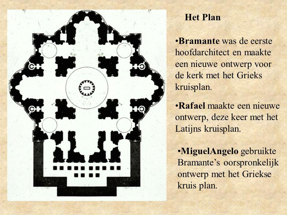 Het Plan Bramante was de eerste hoofdarchitect en maakte een nieuwe ontwerp voor de kerk met het Grieks kruisplan. Rafael maakte een nieuwe ontwerp, d