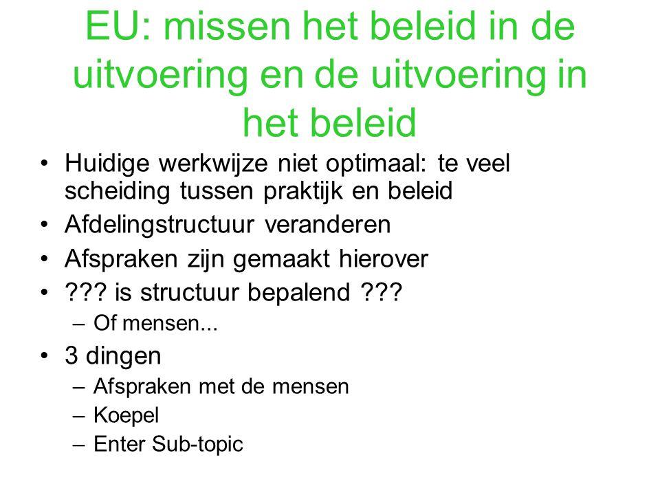 EU: missen het beleid in de uitvoering en de uitvoering in het beleid Huidige werkwijze niet optimaal: te veel scheiding tussen praktijk en beleid Afdelingstructuur veranderen Afspraken zijn gemaakt hierover ??.