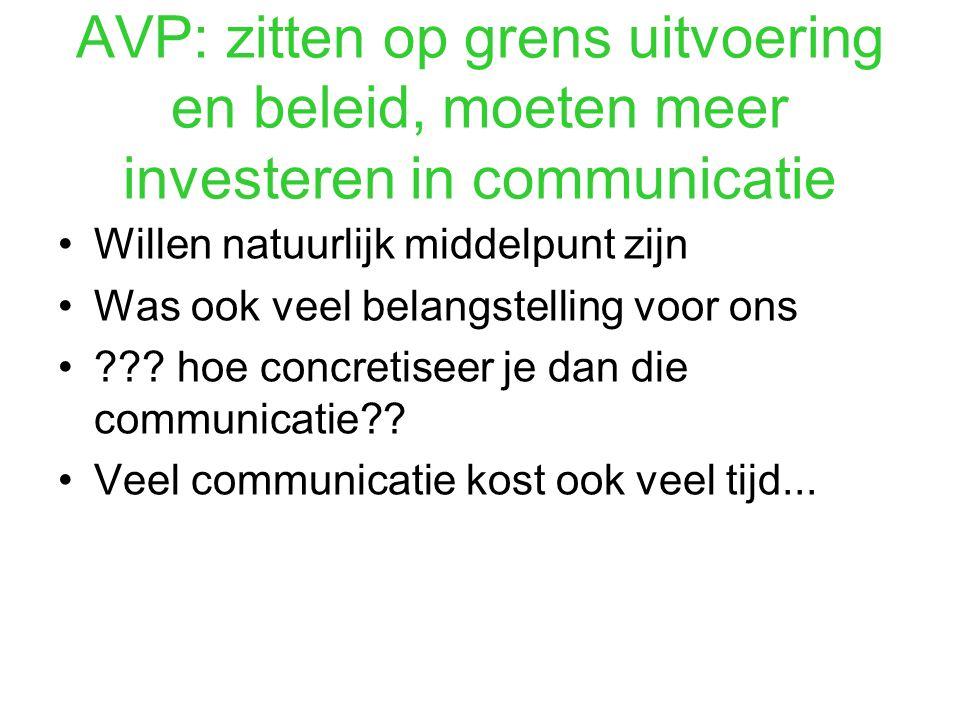 AVP: zitten op grens uitvoering en beleid, moeten meer investeren in communicatie Willen natuurlijk middelpunt zijn Was ook veel belangstelling voor ons .