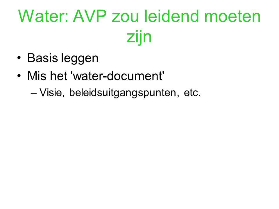 Water: AVP zou leidend moeten zijn Basis leggen Mis het water-document –Visie, beleidsuitgangspunten, etc.