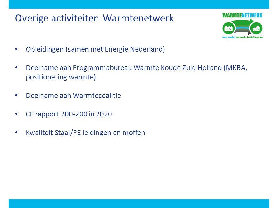 Overige activiteiten Warmtenetwerk Opleidingen (samen met Energie Nederland) Deelname aan Programmabureau Warmte Koude Zuid Holland (MKBA, positioneri