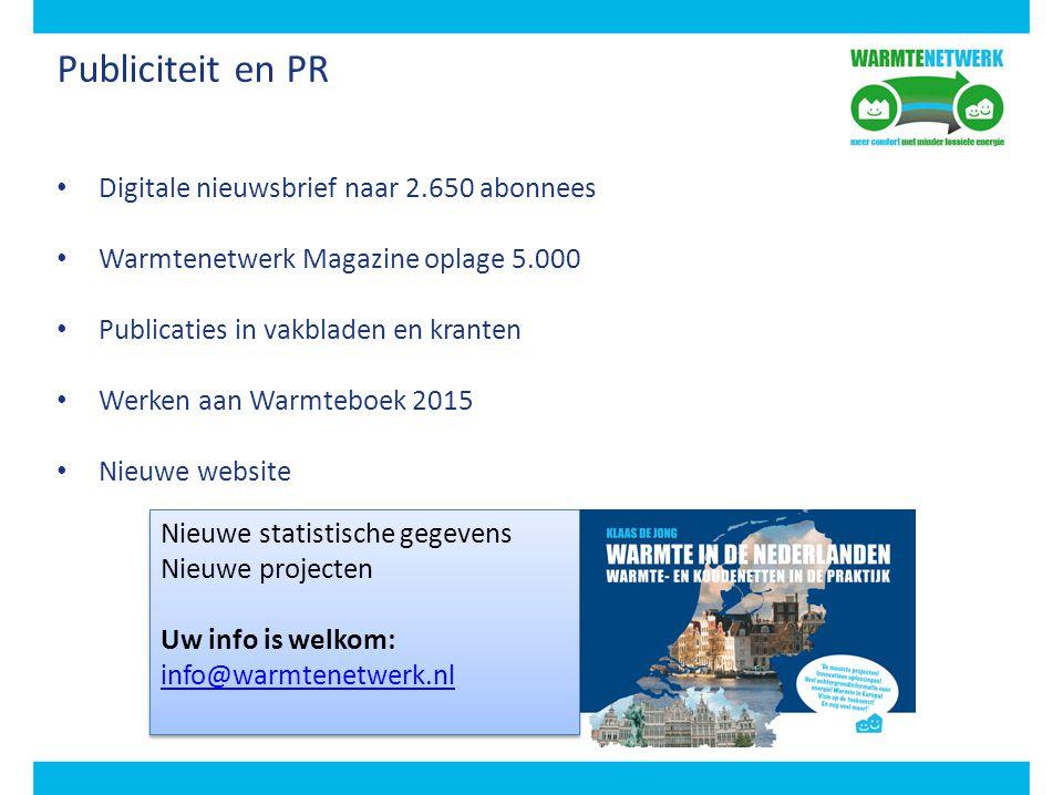 Publiciteit en PR Digitale nieuwsbrief naar 2.650 abonnees Warmtenetwerk Magazine oplage 5.000 Publicaties in vakbladen en kranten Werken aan Warmtebo