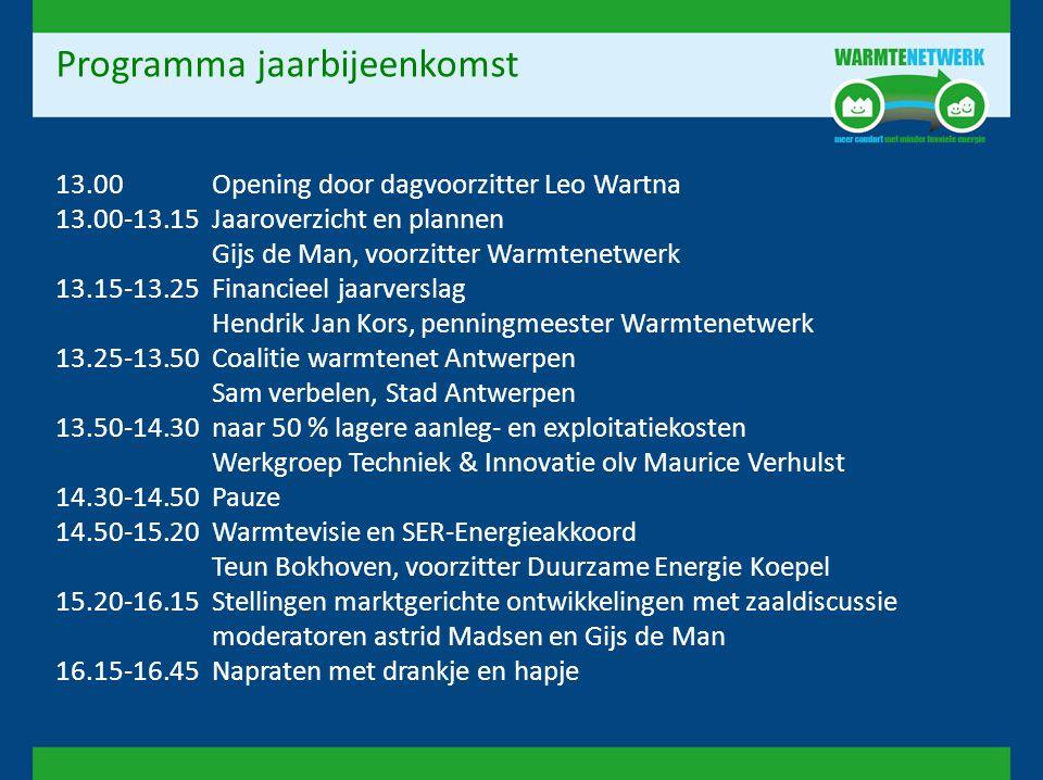 Programma jaarbijeenkomst 13.00Opening door dagvoorzitter Leo Wartna 13.00-13.15Jaaroverzicht en plannen Gijs de Man, voorzitter Warmtenetwerk 13.15-1