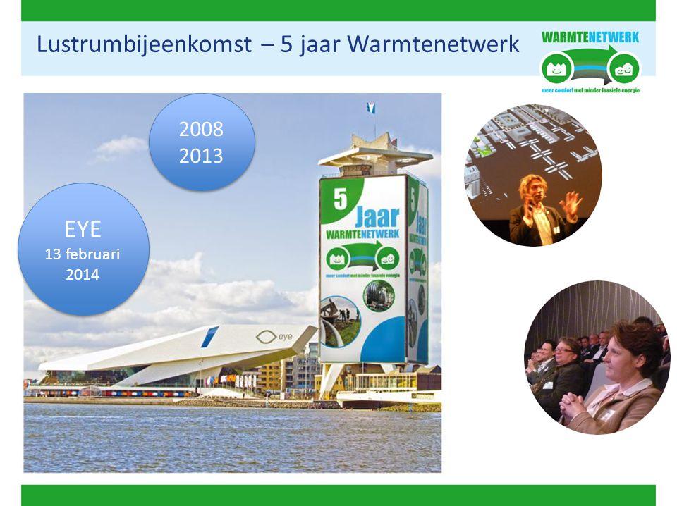 Lustrumbijeenkomst – 5 jaar Warmtenetwerk EYE 13 februari 2014 EYE 13 februari 2014 2008 2013 2008 2013