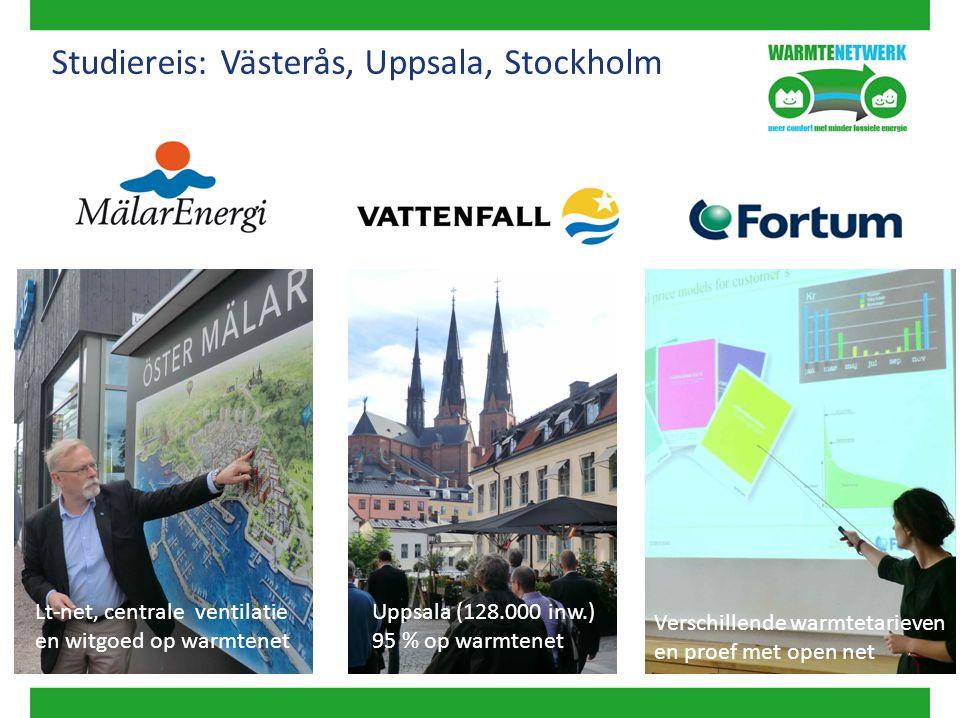 Studiereis: Västerås, Uppsala, Stockholm Lt-net, centrale ventilatie en witgoed op warmtenet Uppsala (128.000 inw.) 95 % op warmtenet Verschillende wa