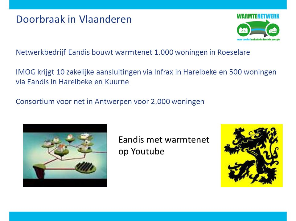 Doorbraak in Vlaanderen Netwerkbedrijf Eandis bouwt warmtenet 1.000 woningen in Roeselare IMOG krijgt 10 zakelijke aansluitingen via Infrax in Harelbe