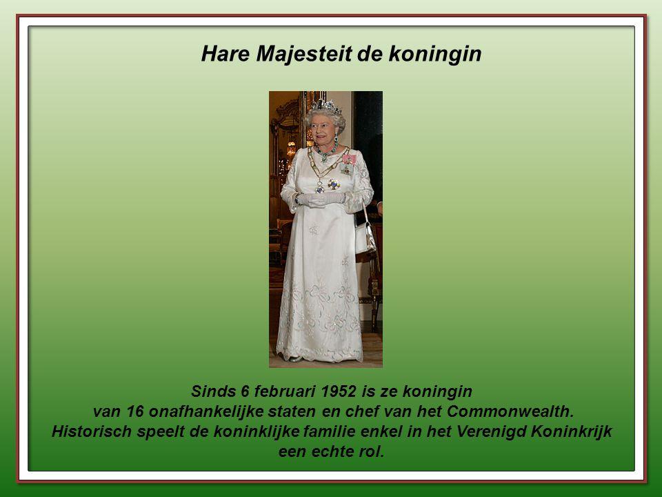 Hare Majesteit de koningin Sinds 6 februari 1952 is ze koningin van 16 onafhankelijke staten en chef van het Commonwealth.