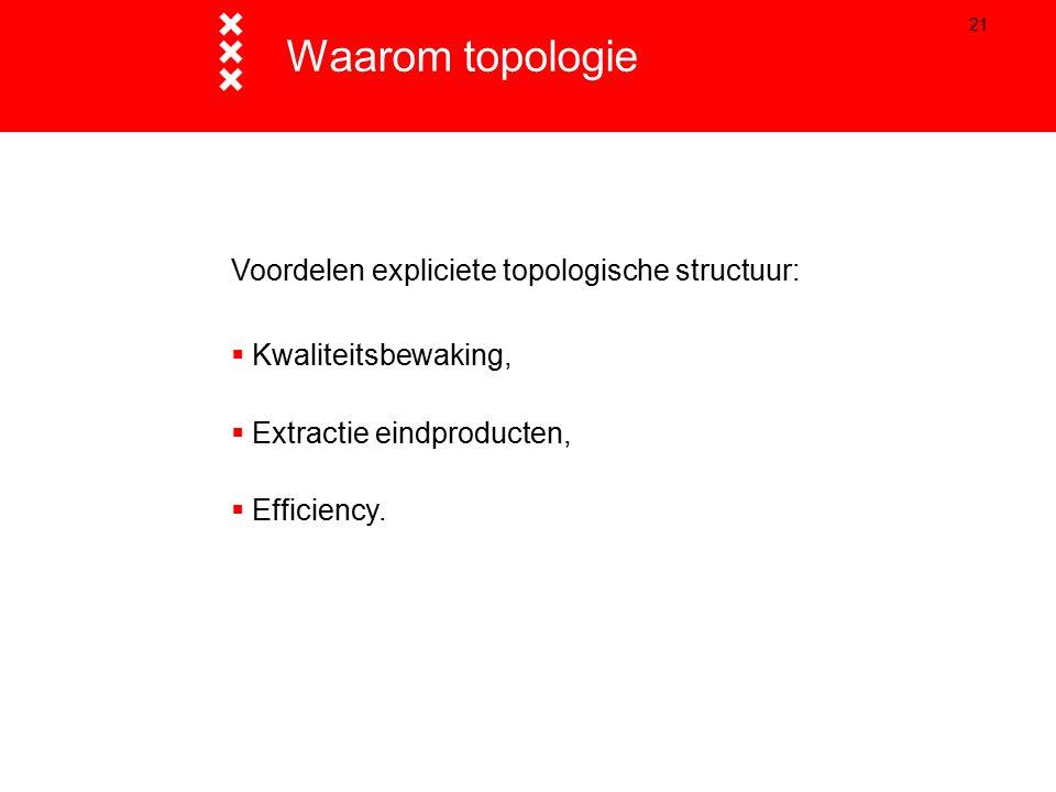 21 Waarom topologie Voordelen expliciete topologische structuur:  Kwaliteitsbewaking,  Extractie eindproducten,  Efficiency.