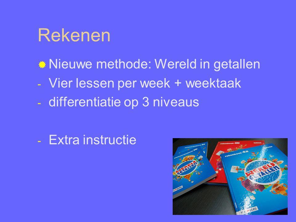 Rekenen  Nieuwe methode: Wereld in getallen - Vier lessen per week + weektaak - differentiatie op 3 niveaus - Extra instructie
