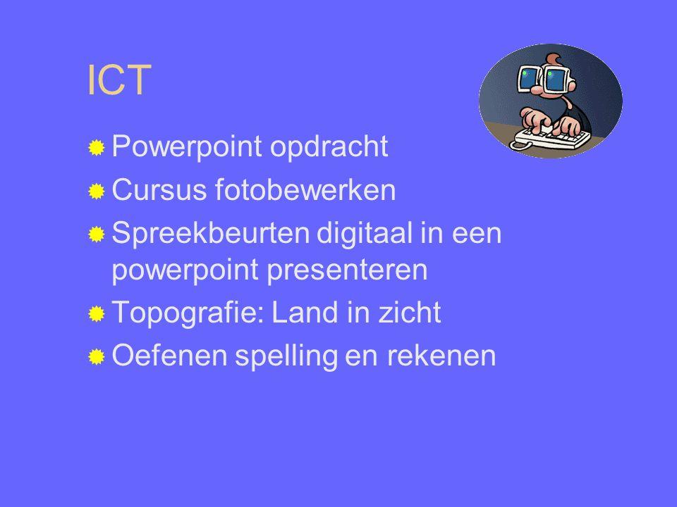 ICT  Powerpoint opdracht  Cursus fotobewerken  Spreekbeurten digitaal in een powerpoint presenteren  Topografie: Land in zicht  Oefenen spelling