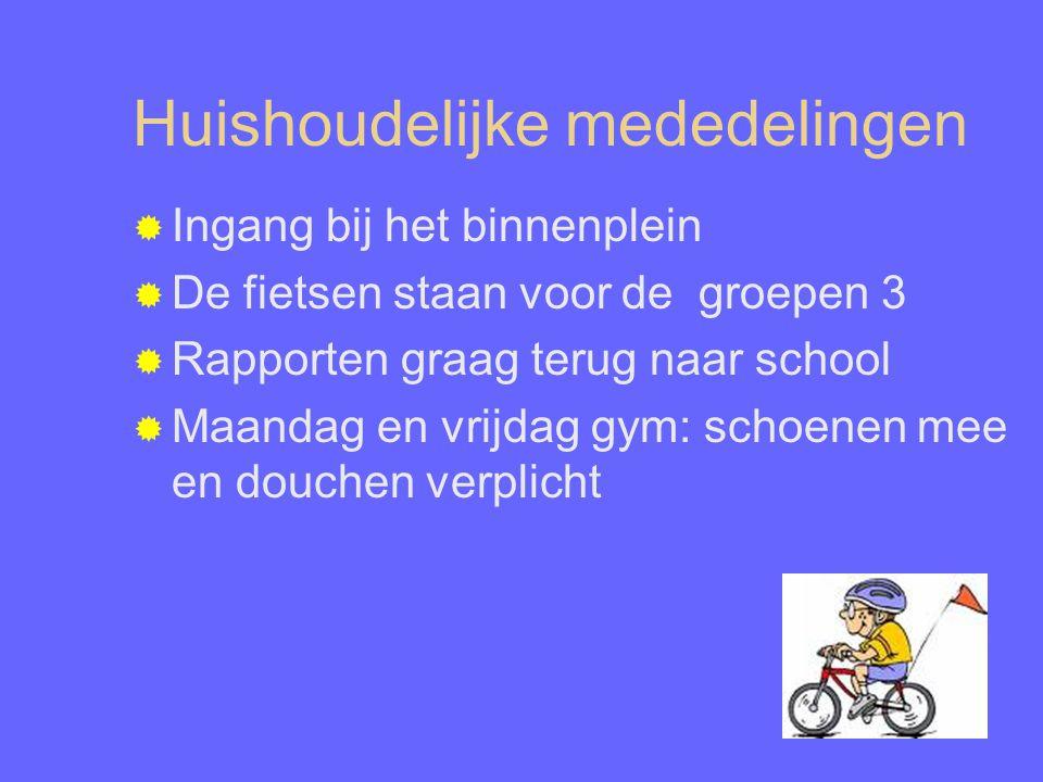 Huishoudelijke mededelingen  Ingang bij het binnenplein  De fietsen staan voor de groepen 3  Rapporten graag terug naar school  Maandag en vrijdag gym: schoenen mee en douchen verplicht