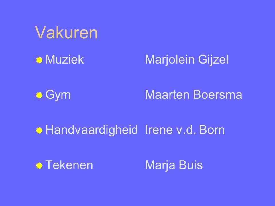 Vakuren  Muziek Marjolein Gijzel  GymMaarten Boersma  HandvaardigheidIrene v.d. Born  TekenenMarja Buis