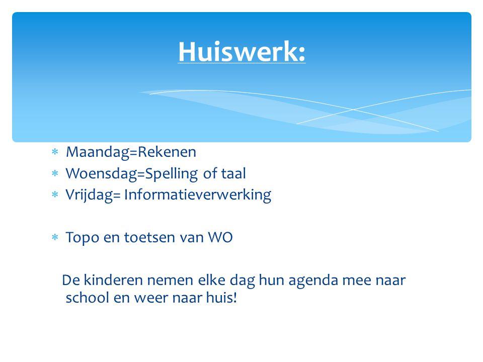  Maandag=Rekenen  Woensdag=Spelling of taal  Vrijdag= Informatieverwerking  Topo en toetsen van WO De kinderen nemen elke dag hun agenda mee naar