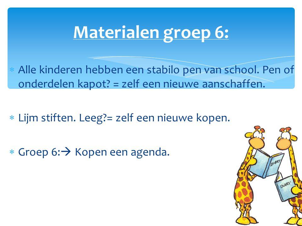  Alle kinderen hebben een stabilo pen van school. Pen of onderdelen kapot? = zelf een nieuwe aanschaffen.  Lijm stiften. Leeg?= zelf een nieuwe kope