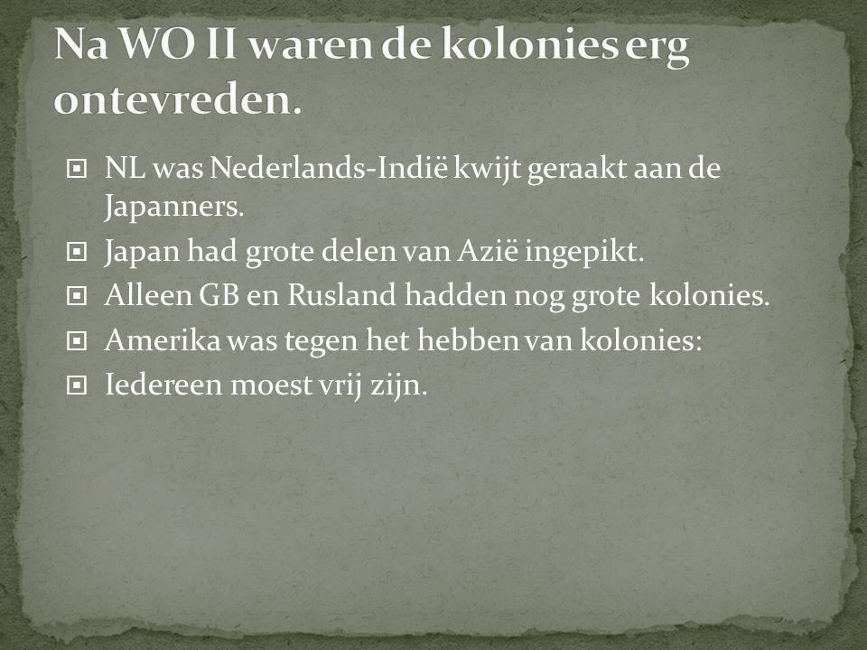  NL was Nederlands-Indië kwijt geraakt aan de Japanners.  Japan had grote delen van Azië ingepikt.  Alleen GB en Rusland hadden nog grote kolonies.