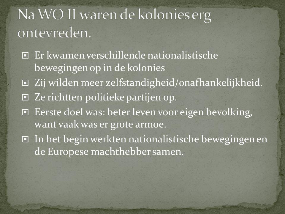 Er kwamen verschillende nationalistische bewegingen op in de kolonies  Zij wilden meer zelfstandigheid/onafhankelijkheid.  Ze richtten politieke p