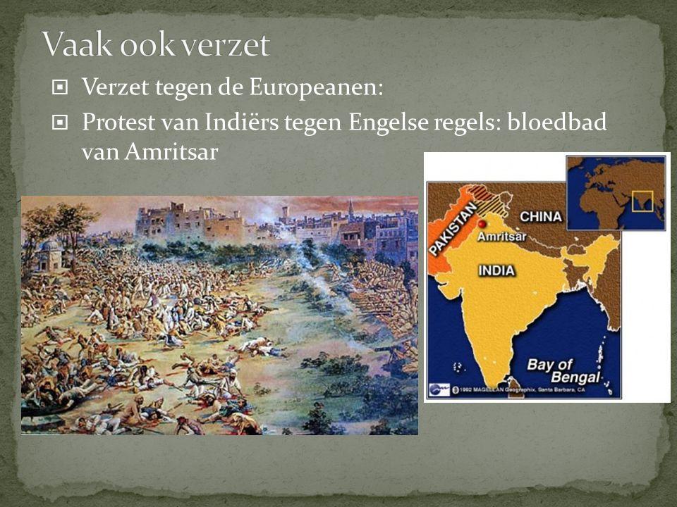  Verzet tegen de Europeanen:  Protest van Indiërs tegen Engelse regels: bloedbad van Amritsar