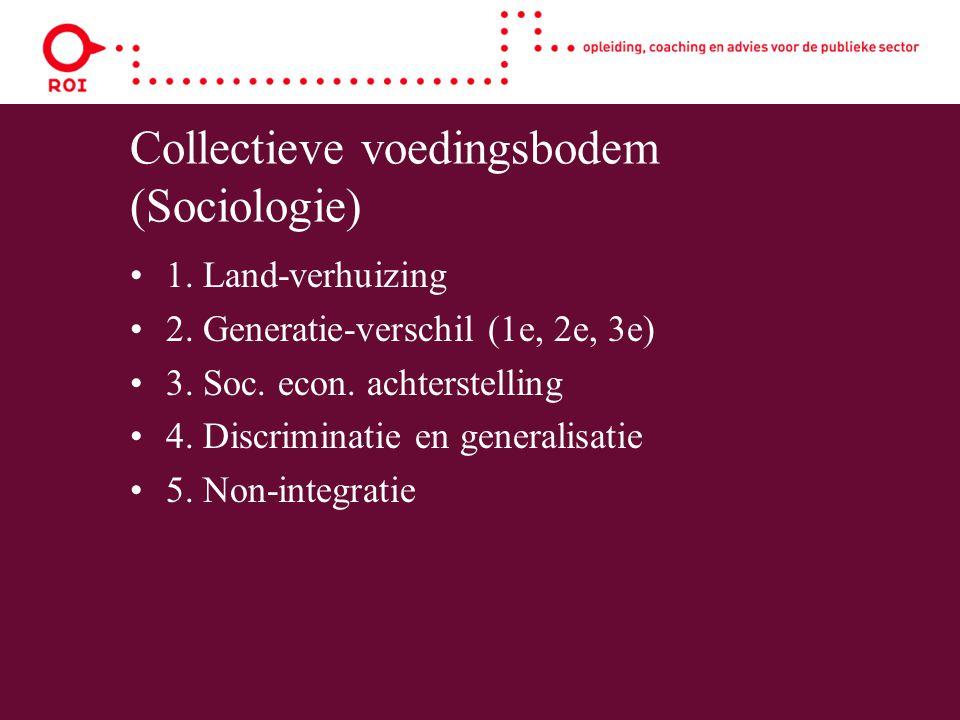 Collectieve voedingsbodem (Sociologie) 1. Land-verhuizing 2. Generatie-verschil (1e, 2e, 3e) 3. Soc. econ. achterstelling 4. Discriminatie en generali