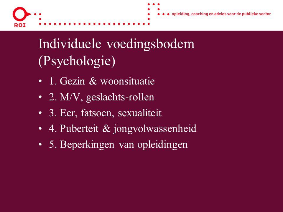 Individuele voedingsbodem (Psychologie) 1. Gezin & woonsituatie 2. M/V, geslachts-rollen 3. Eer, fatsoen, sexualiteit 4. Puberteit & jongvolwassenheid
