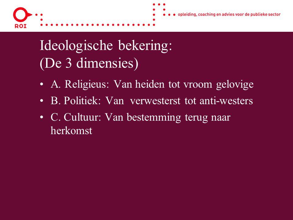 Ideologische bekering: (De 3 dimensies) A. Religieus: Van heiden tot vroom gelovige B. Politiek: Van verwesterst tot anti-westers C. Cultuur: Van best