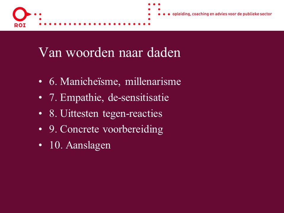Van woorden naar daden 6. Manicheïsme, millenarisme 7. Empathie, de-sensitisatie 8. Uittesten tegen-reacties 9. Concrete voorbereiding 10. Aanslagen