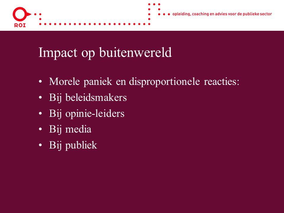 Impact op buitenwereld Morele paniek en disproportionele reacties: Bij beleidsmakers Bij opinie-leiders Bij media Bij publiek