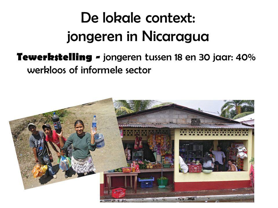 De lokale context: jongeren in Nicaragua Tewerkstelling - jongeren tussen 18 en 30 jaar: 40% werkloos of informele sector