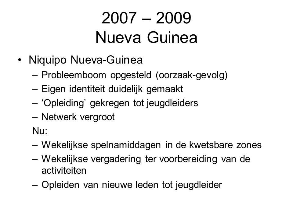 2007 – 2009 Nueva Guinea Niquipo Nueva-Guinea –Probleemboom opgesteld (oorzaak-gevolg) –Eigen identiteit duidelijk gemaakt –'Opleiding' gekregen tot j