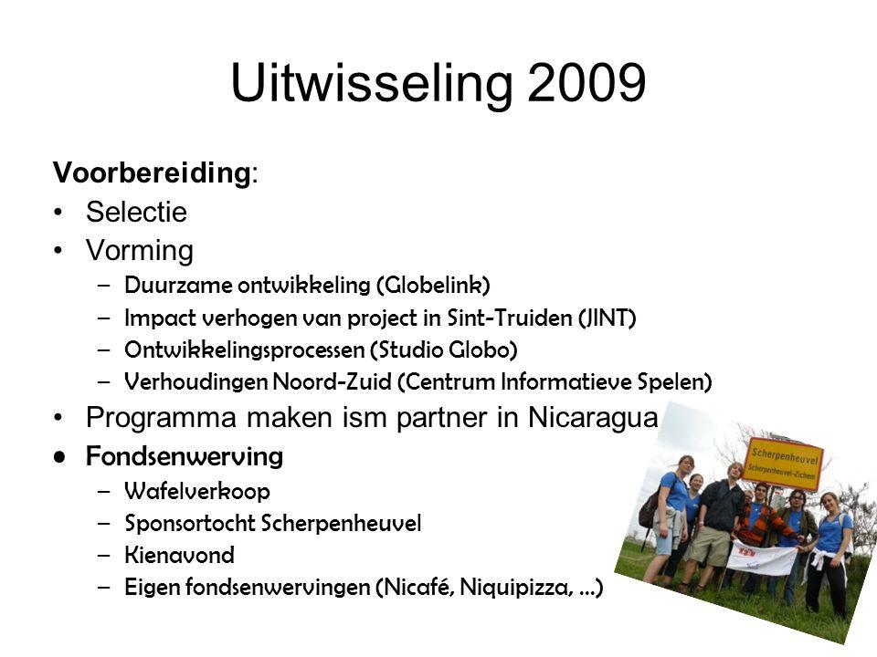Uitwisseling 2009 Voorbereiding: Selectie Vorming –Duurzame ontwikkeling (Globelink) –Impact verhogen van project in Sint-Truiden (JINT) –Ontwikkeling