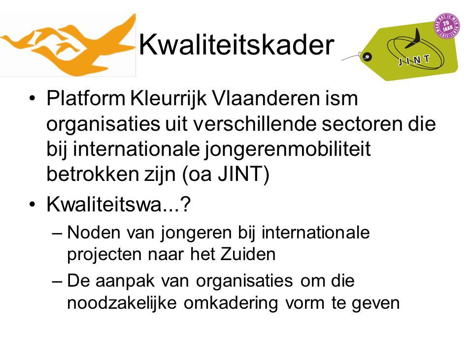 Kwaliteitskader Platform Kleurrijk Vlaanderen ism organisaties uit verschillende sectoren die bij internationale jongerenmobiliteit betrokken zijn (oa JINT) Kwaliteitswa....