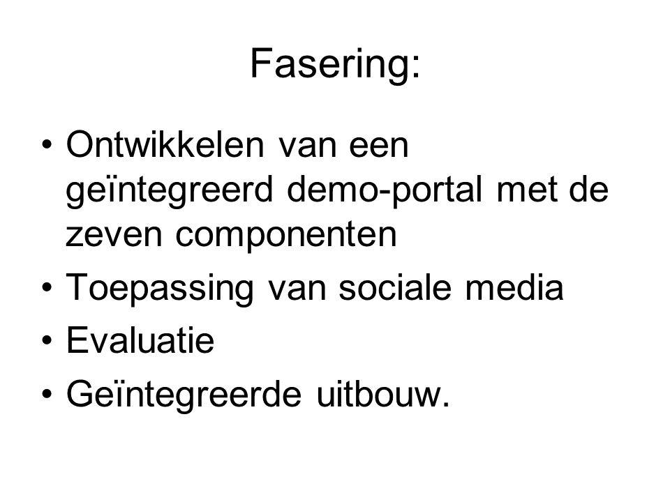 Fasering: Ontwikkelen van een geïntegreerd demo-portal met de zeven componenten Toepassing van sociale media Evaluatie Geïntegreerde uitbouw.