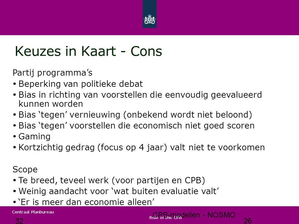 Centraal Planbureau Conclusie / stellingen CPB-analyses bieden structuur aan Nederlands beleidsdebat cijfers worden niet politiek bepaald (maar door onafhankelijk CPB) politiek debatteert over keuzes CPB analyses zijn gebaseerd op empirische relaties...