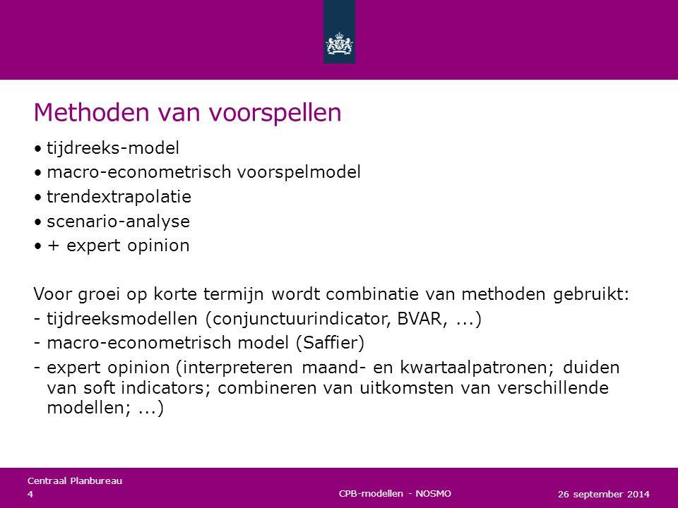 Centraal Planbureau Modellen voor voorspellen Macro-econometrisch voorspelmodel Jan Tinbergen (1936) - Keynesiaans model CPB anno 2014: Saffier Tijdreeksmodel Sims (1980) CPB anno 2014: VAR-modellen / Leading indicator /...
