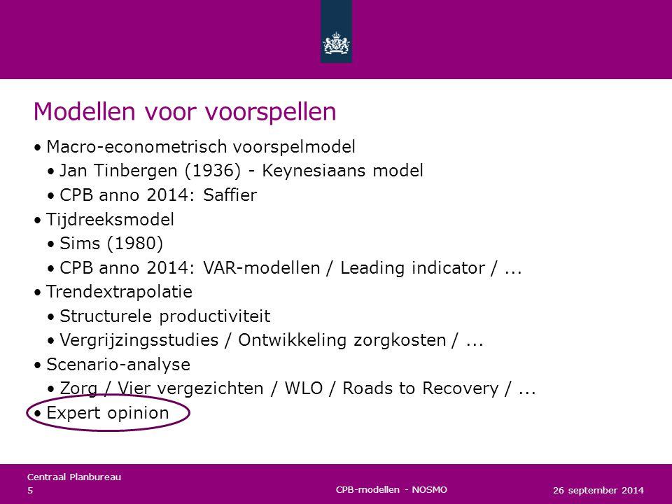 Centraal Planbureau 26 september 2014 6 CPB-modellen - NOSMO