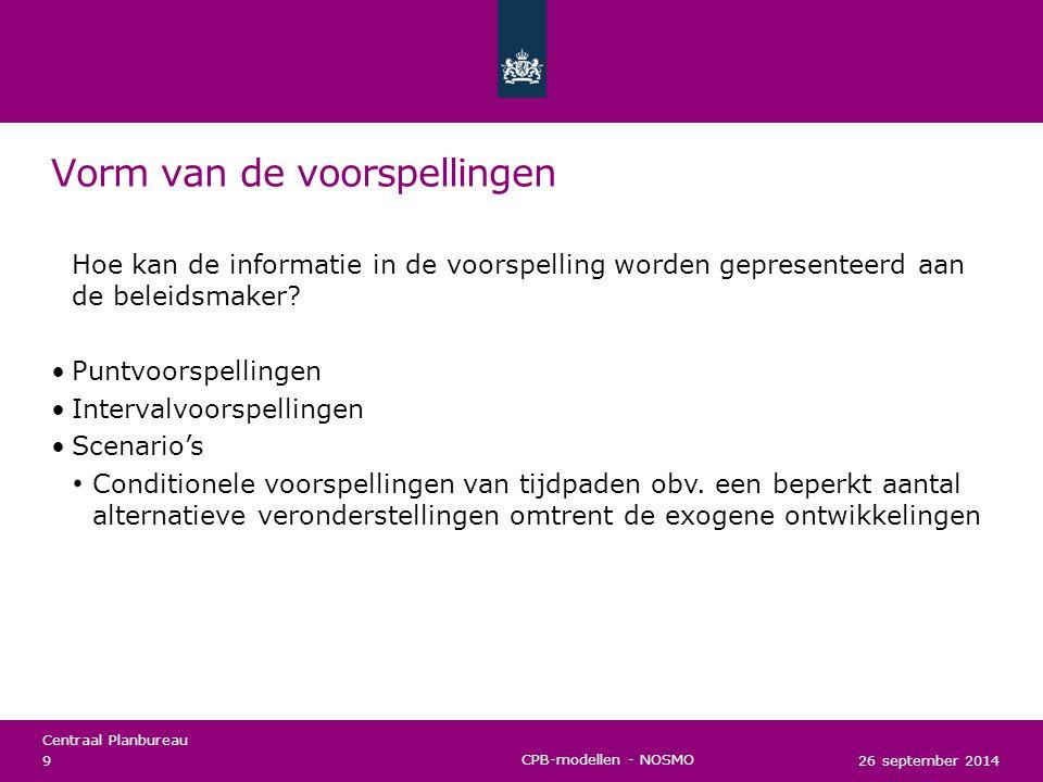 Centraal Planbureau Puntvoorspelling (juni 2013) 26 september 2014 10 CPB-modellen - NOSMO