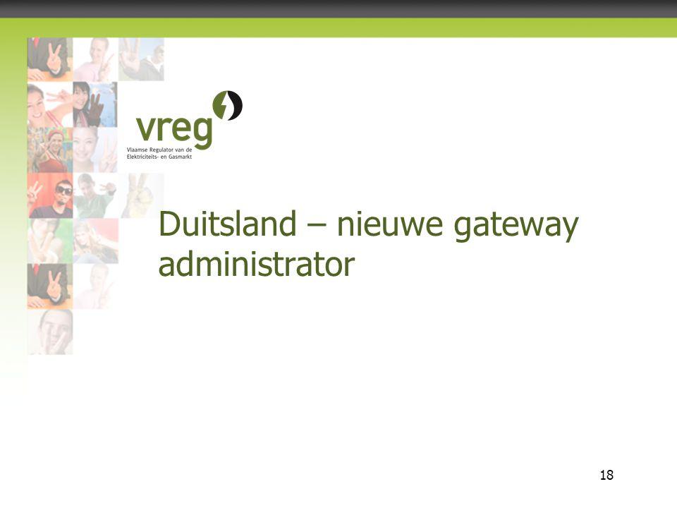 Vlaamse Regulator van de Elektriciteits- en Gasmarkt 18 Duitsland – nieuwe gateway administrator