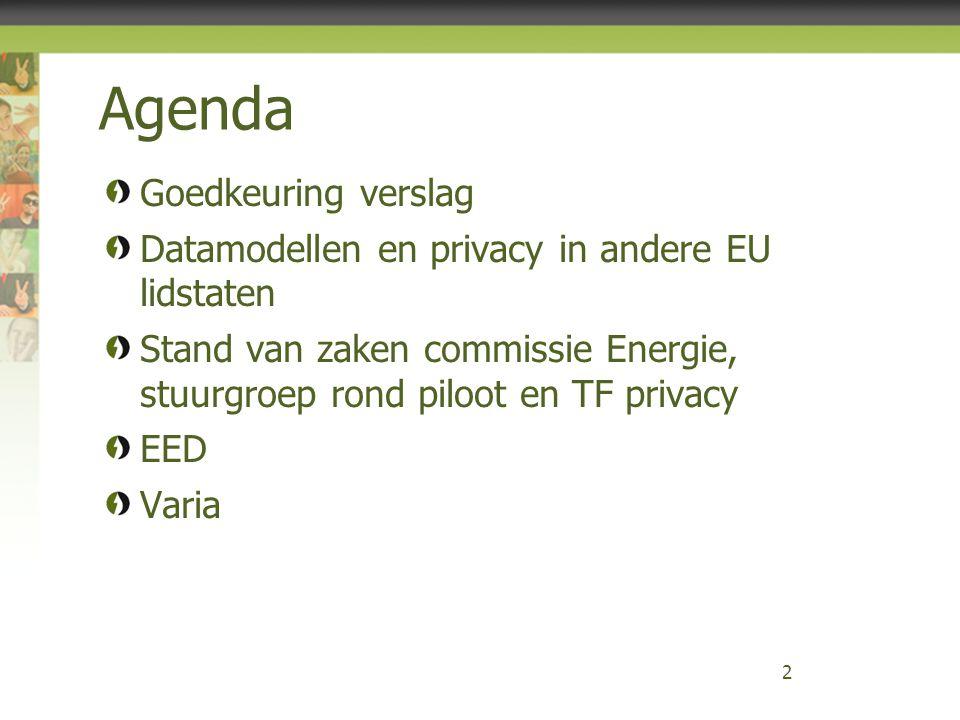 Agenda Goedkeuring verslag Datamodellen en privacy in andere EU lidstaten Stand van zaken commissie Energie, stuurgroep rond piloot en TF privacy EED
