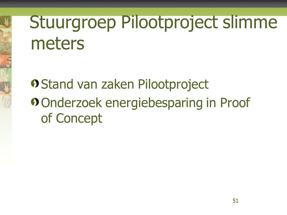 Stuurgroep Pilootproject slimme meters Stand van zaken Pilootproject Onderzoek energiebesparing in Proof of Concept 51