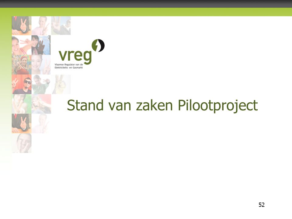 Vlaamse Regulator van de Elektriciteits- en Gasmarkt 52 Stand van zaken Pilootproject