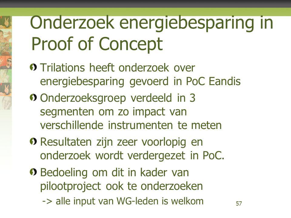 Trilations heeft onderzoek over energiebesparing gevoerd in PoC Eandis Onderzoeksgroep verdeeld in 3 segmenten om zo impact van verschillende instrume
