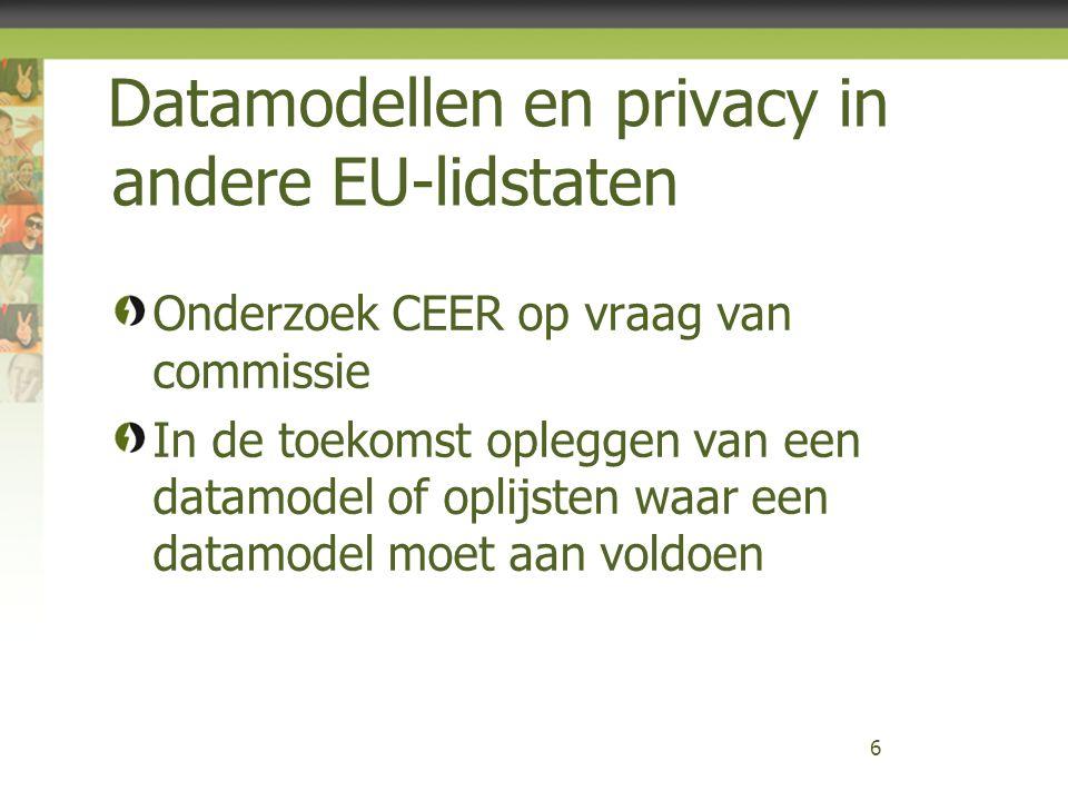 Datamodellen en privacy in andere EU-lidstaten Onderzoek CEER op vraag van commissie In de toekomst opleggen van een datamodel of oplijsten waar een d