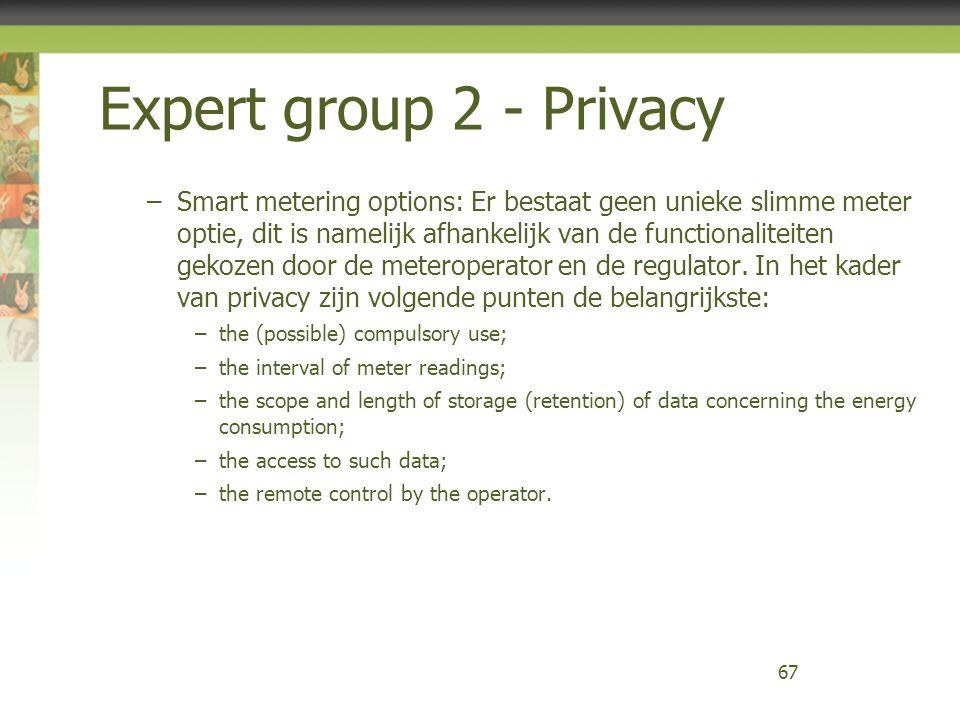 Expert group 2 - Privacy –Smart metering options: Er bestaat geen unieke slimme meter optie, dit is namelijk afhankelijk van de functionaliteiten geko