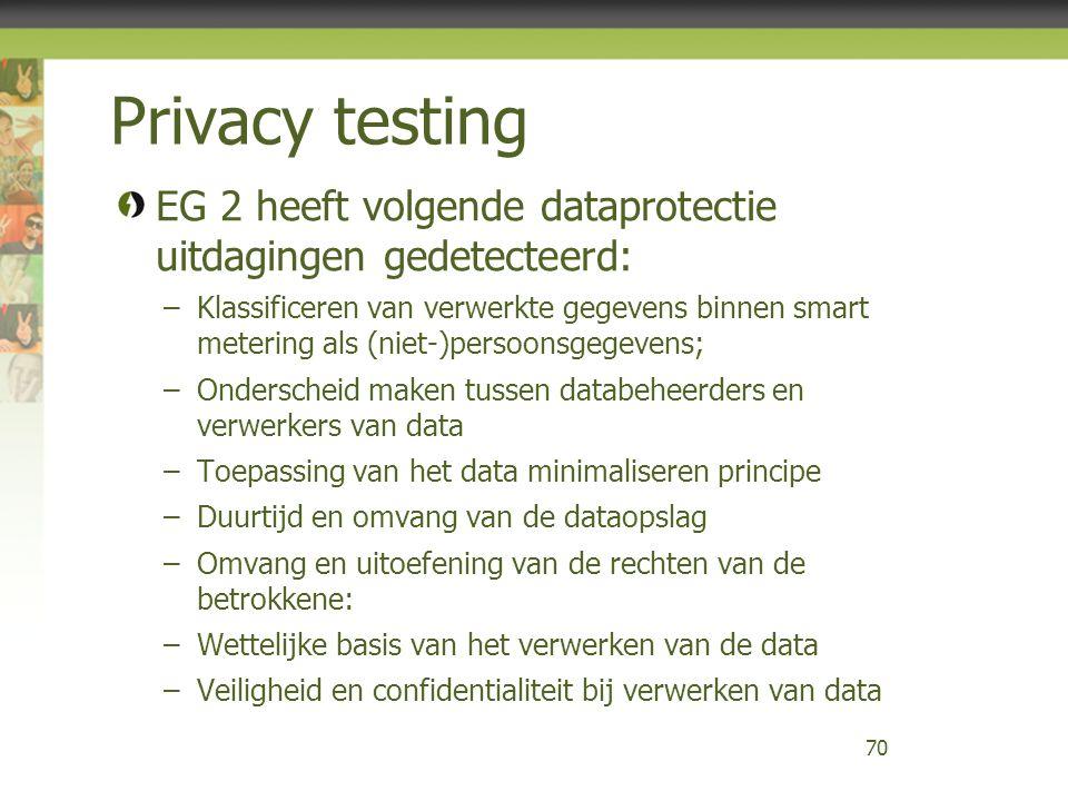 Privacy testing EG 2 heeft volgende dataprotectie uitdagingen gedetecteerd: –Klassificeren van verwerkte gegevens binnen smart metering als (niet-)persoonsgegevens; –Onderscheid maken tussen databeheerders en verwerkers van data –Toepassing van het data minimaliseren principe –Duurtijd en omvang van de dataopslag –Omvang en uitoefening van de rechten van de betrokkene: –Wettelijke basis van het verwerken van de data –Veiligheid en confidentialiteit bij verwerken van data 70