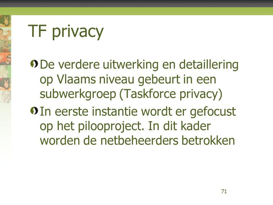 TF privacy De verdere uitwerking en detaillering op Vlaams niveau gebeurt in een subwerkgroep (Taskforce privacy) In eerste instantie wordt er gefocust op het pilooproject.