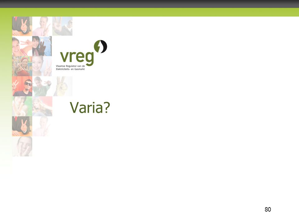 Vlaamse Regulator van de Elektriciteits- en Gasmarkt 80 Varia