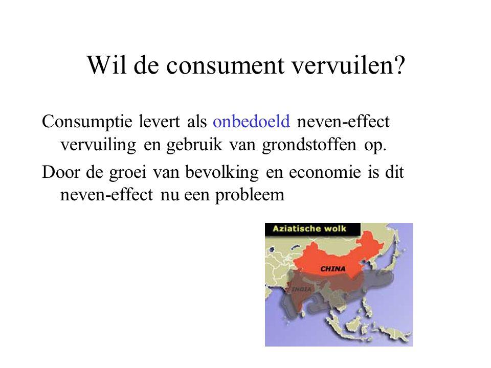 Wil de consument vervuilen? Consumptie levert als onbedoeld neven-effect vervuiling en gebruik van grondstoffen op. Door de groei van bevolking en eco