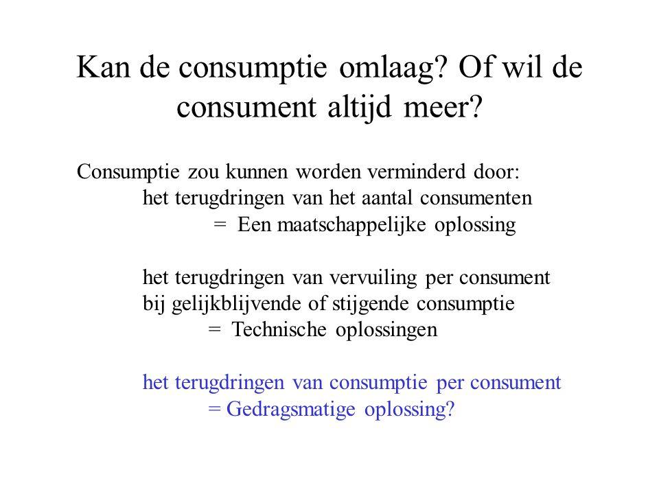 Kan de consumptie omlaag? Of wil de consument altijd meer? Consumptie zou kunnen worden verminderd door: het terugdringen van het aantal consumenten =