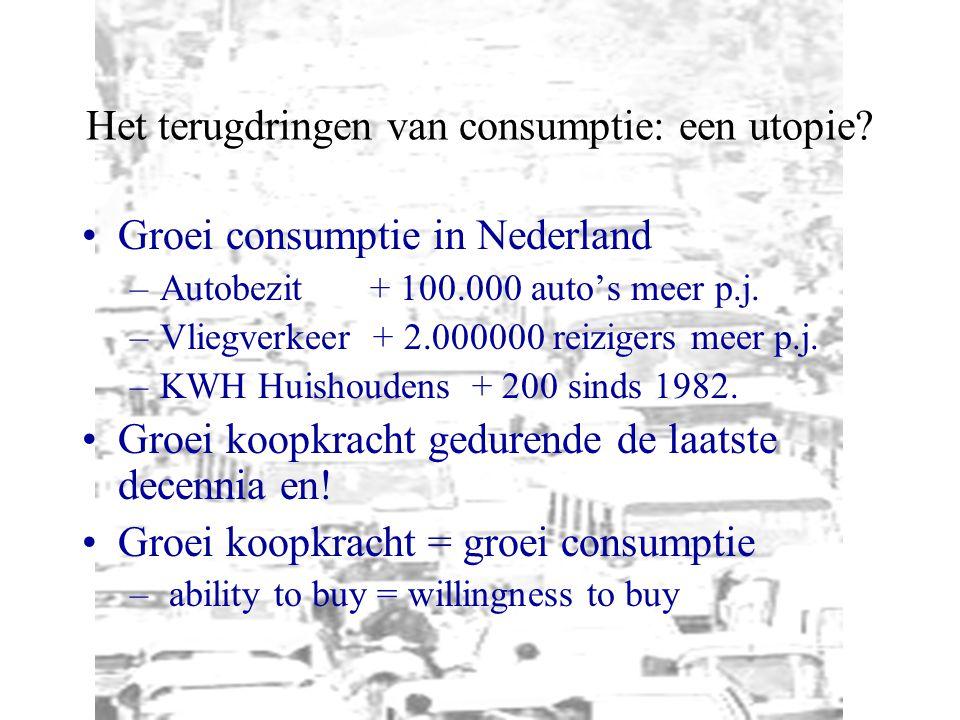 Het terugdringen van consumptie: een utopie? Groei consumptie in Nederland –Autobezit+ 100.000 auto's meer p.j. –Vliegverkeer + 2.000000 reizigers mee