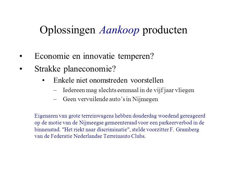 Oplossingen Aankoop producten Economie en innovatie temperen? Strakke planeconomie? Enkele niet onomstreden voorstellen –Iedereen mag slechts eenmaal